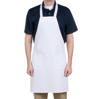 Choice White Full Length Bib Apron with Pockets - 34 inchL x 30 inchW