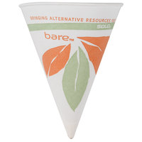 Dart Solo 6RB-J8614 Bare Eco-Forward 6 oz. Printed Rolled Rim Paper Cone Cup with Leaf Design and Poly Bag Packaging - 200 / Pack