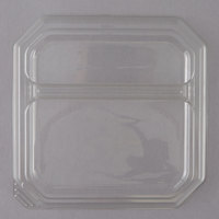 Genpak SQ92 9 inch Clear 2 Compartment Square Dome Plate Lid - 200/Case