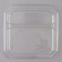 Genpak SQ92 9 inch Clear 2 Compartment Square Dome Plate Lid - 200/Case