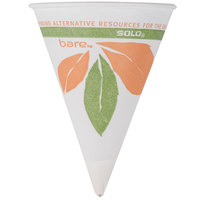 Dart Solo 4BR-J8614 Bare Eco-Forward 4 oz. Printed Rolled Rim Paper Cone Cup with Leaf Design and Poly Bag Packaging - 200 / Pack