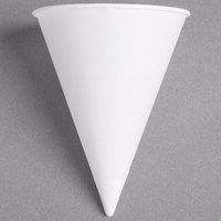 Dart Solo 5RB-2050 Bare Eco-Forward 5 oz. White Rolled Rim Paper Cone Cup with Poly Bag Packaging - 200/Pack