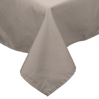 64 inch x 64 inch Beige 100% Polyester Hemmed Cloth Table Cover