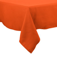64 inch x 64 inch Orange 100% Polyester Hemmed Cloth Table Cover