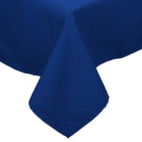 64 inch x 64 inch Royal Blue 100% Polyester Hemmed Cloth Table Cover
