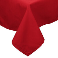 72 inch x 120 inch Red 100% Polyester Hemmed Cloth Table Cover