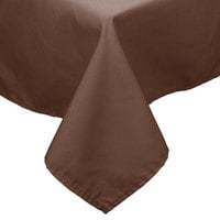 64 inch x 120 inch Brown 100% Polyester Hemmed Cloth Table Cover