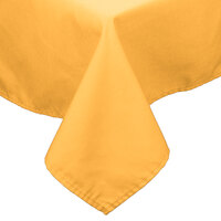 72 inch x 120 inch Gold 100% Polyester Hemmed Cloth Table Cover