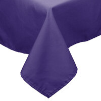 72 inch x 120 inch Purple 100% Polyester Hemmed Cloth Table Cover