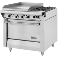 Garland M48-23S Master Series Natural Gas 2 Burner 34 inch Range with 23 inch Griddle and Storage Base - 114,000 BTU (Thermostatic Controls)