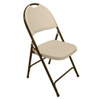 Correll RC350 Tan with Brown Frame Plastic Molded Folding Chair