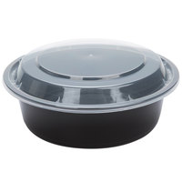 Black 32 oz. 7 inch Round Microwavable Container with Lid - 10/Pack