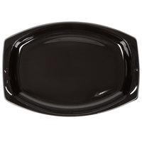 Genpak BLK11 Silhouette 7 inch x 10 1/2 inch Black Premium Plastic Platter   - 125/Pack