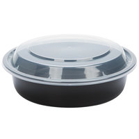 24 oz. Black 7 inch Round Microwavable Container with Lid - 25 / Pack