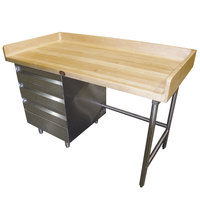 Advance Tabco BST-368 Wood Top Baker's Table with Stainless Steel Base and Drawers - 36 inch x 96 inch