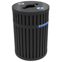 Commercial Zone 728201 ArchTec Parkview 45 Gallon Black Steel Outdoor Recycling Bin with Decals