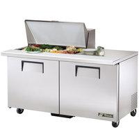 True TSSU-60-15M-B 60 inch Mega Top Two Door Sandwich / Salad Prep Refrigerator