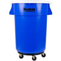 Continental Huskee 44 Gallon Blue Trash Can, White Lid, and Trash Can Dolly Kit