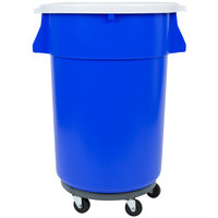 44 Gallon Blue Trash Can, Lid, and Dolly Kit