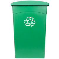 Continental 23 Gallon Green Wall Hugger Recycling Trash Can and Lid Set