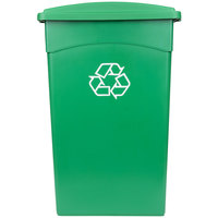 Continental 23 Gallon Green Wall Hugger Recycling Trash Can and Lid with Holes Set