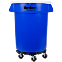 Continental Huskee 32 Gallon Blue Trash Can, White Lid, and Trash Can Dolly Kit
