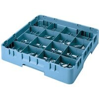 Cambro 16S1214414 Camrack 12 5/8 inch High Teal 16 Compartment Glass Rack
