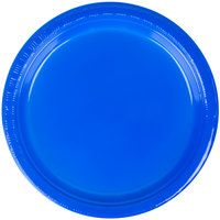 Creative Converting 28314711 7 inch Cobalt Plastic Lunch Plate - 240 / Case