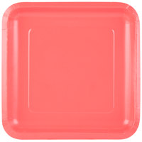 Creative Converting 463146 9 inch Coral Square Paper Dinner Plate - 180/Case