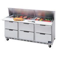 Beverage-Air SPED72-08-6 72 inch Six Drawer Refrigerated Salad / Sandwich Prep Table