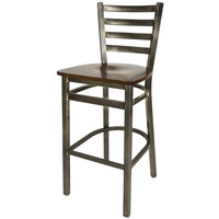 BFM Seating 2160BWNW-CL Lima Steel Bar Height Chair with Walnut Wooden Seat and Clear Coat Frame
