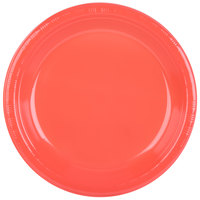 Creative Converting 28314631 10 inch Coral Orange Plastic Plate - 240/Case