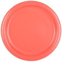 Creative Converting 473146B 9 inch Coral Round Paper Dinner Plate - 240/Case