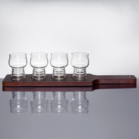 Libbey Craft Cider / Beer Flight - 4 Glass Set with Red Brown Wood Paddle