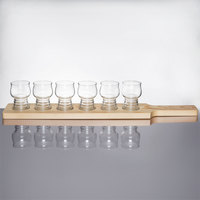 Libbey Craft Cider / Beer Flight - 6 Glass Set with Natural Wood Paddle