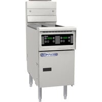 Pitco SSH55T-D Solofilter Solstice Supreme 20-25 lb. Split Pot Gas Floor Fryer with Digital Controls - 80,000 BTU