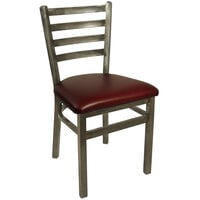 BFM Seating 2160CBUV-CL Lima Steel Side Chair with 2 inch Burgundy Vinyl Seat and Clear Coat Frame