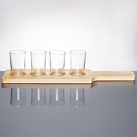 Libbey Craft Brews Beer Flight - 4 Glass Set with Natural Wood Paddle