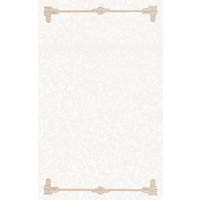 8 1/2 inch x 14 inch Tan Menu Paper - Scroll Border - 100/Pack