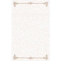 8 1/2 inch x 14 inch Tan Menu Paper - Scroll Border - 100/Pack