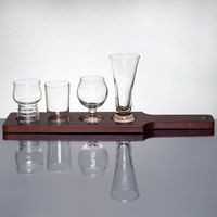 Libbey Variety Craft Brews Beer Flight - 4 Unique Glass Set and Red Brown Wood Paddle