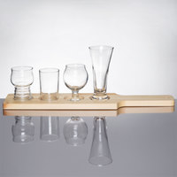Libbey Variety Craft Brews 4 Unique Glass Beer Flight Set with Natural Wood Paddle