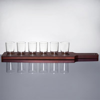 Libbey Craft Brews Beer Flight - 6 Glass Set with Red Brown Wood Paddle