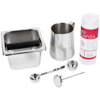 Barista Kit with 4 inch Knock Box and 20 oz. Urnex Cafiza Powder Container