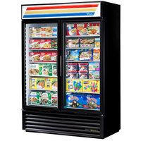 True GDM-49F-HC-LD Black Glass Door Merchandiser Freezer with LED Lighting
