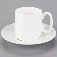10 Strawberry Street B4524B4525 Izabel Lam Pond 4 oz. White Bone China Espresso Cup and Saucer Set   - 18/Case