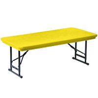Correll R-Series RA3072S 30 inch x 72 inch Yellow Plastic Adjustable Height Folding Table - Short Legs