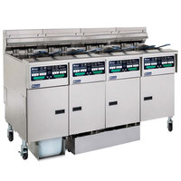 Pitco SELV14C-4/FDP Solstice 120 lb. Reduced Oil Volume / High Output 4 Unit Electric Fryer System with Intellifry Computer Controls and Push Button Top Off - 68 kW