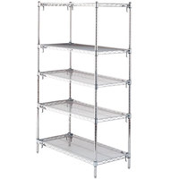 Metro 5A557C Stationary Super Erecta Adjustable 2 Series Chrome Wire Shelving Unit - 24 inch x 48 inch x 74 inch