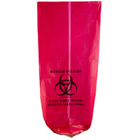 30 Gallon 33 inch X 40 inch Red Isolation Infectious Waste Bag / Biohazard Bag High Density 17 Microns - 250 / Case